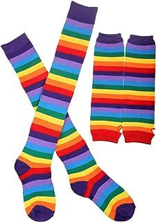 Arco iris brazalete brazo más caliente pierna medias coloridos muslo alta calcetín dedos sin mangas manga conjunto regalo de navidad para las mujeres niñas