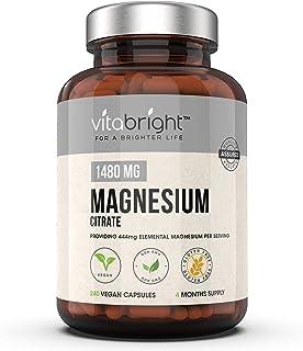 Magnesium Citrate 1480mg - 240 Vegan Magnesium Capsules not Magnesium Tablets - Providing 444mg Elemental Magnesium - 4 Mo...