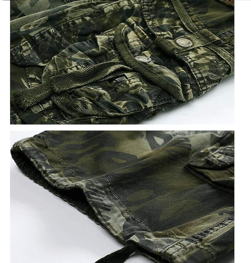 YOYVV Short Cargo Multi-Poches pour Hommes Coton Frais Caractères Masculins Lettres Imprimé Bracelet de Broderie Pantalon Militaire Tactique Court Army Green