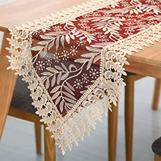 Homaxy Lace Floral Embroidered Table Runner - Vintage Burgundy Gold Lace Table Runners for Home Dining Table Decor, 16 x 54 Inch, Gold Leaves