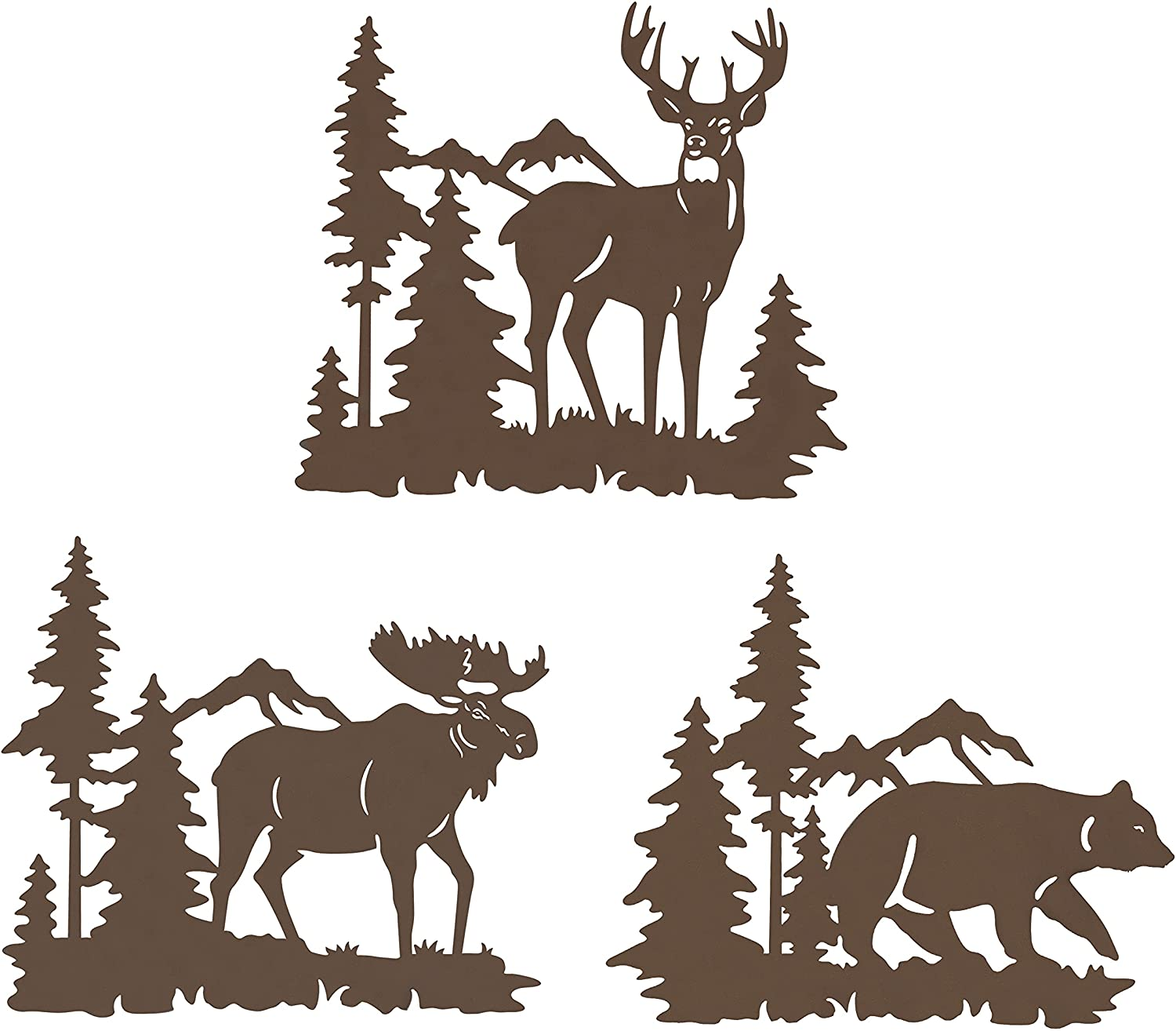 Waiu Metal wall art decor deer bear moose in the forest pine tree, 9.3inch set of 3 Rustic Concise Decoration Hanging for living room bedroom bathroom indoor outdoor, Lodge, Hunting, Cabin Wall Décor, Brown