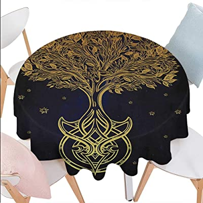 Tree of Life Customized Round Tablecloth Romantic Plant Night with Stars in Sky Baroque Style Mystic