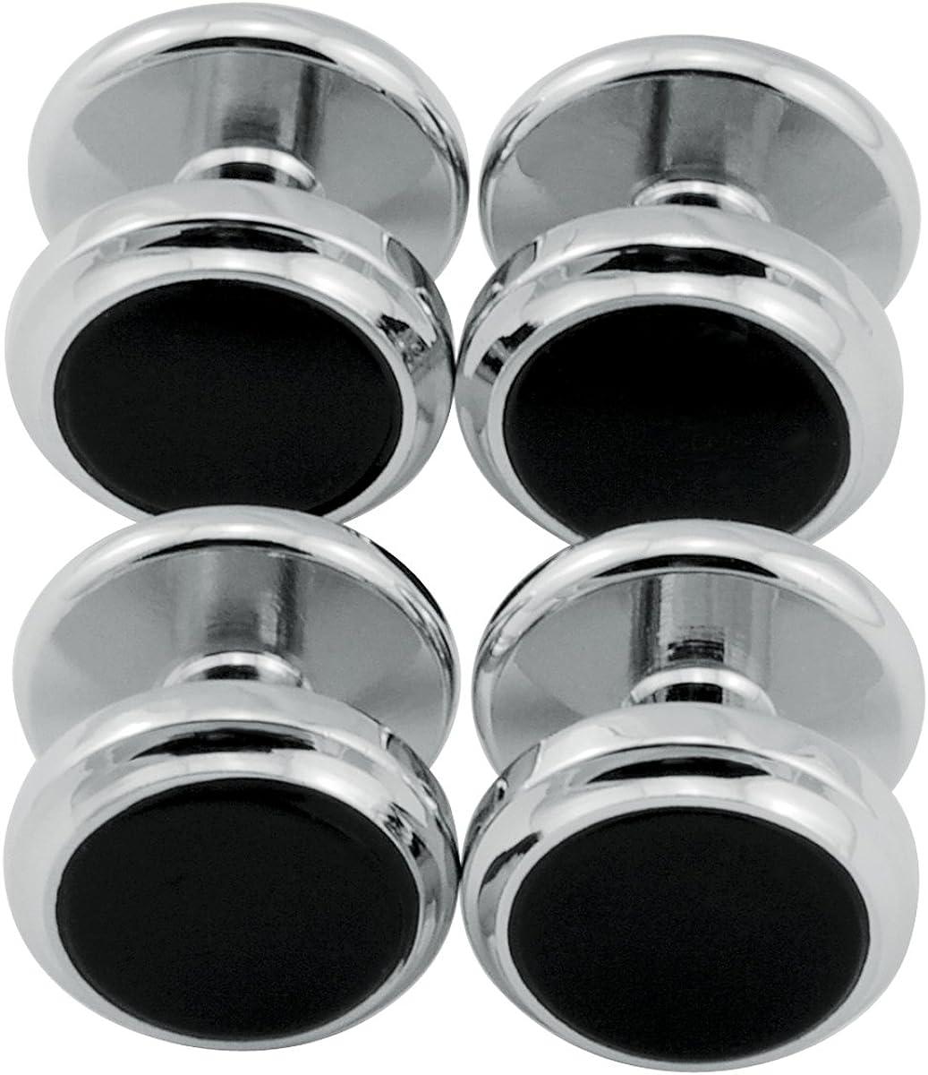 AO OA Set of Four Rhodium Plated Black Onyx Tuxedo Studs