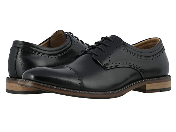 1920s Boardwalk Empire Shoes Stacy Adams Flemming Cap Toe Oxford Black Mens Shoes $86.63 AT vintagedancer.com