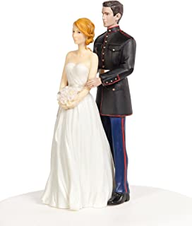Wedding Collectibles Marine Military Wedding Cake Topper - Caucasian Bride and Groom