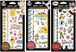 Disney Temporary Tattoo Stickers Body Art 3 Sheets (Winnie Bees/Winnie Music/Mickey Family)