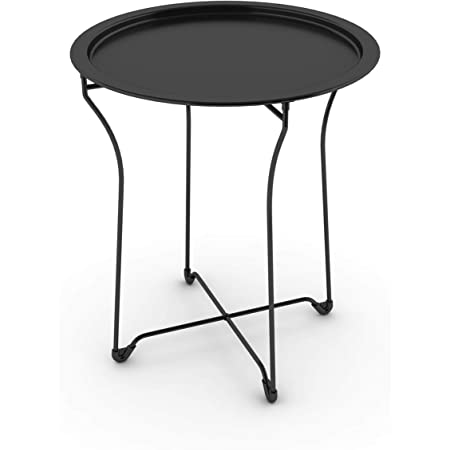 Atlantic Metal Side Table - Stylish Folding Tray Table, Sturdy Steel Construction with Wear-Resistant Powder Coating, PN in Black - 38435984