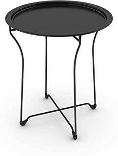 Atlantic urbSPACE Metal Side Table - Stylish Folding Tray Table, Sturdy Steel Construction with Wear-Resistant Powder Coating, PN38435984 in Black