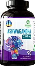2100 mg Ashwagandha 90 Capsules Organic for Anxiety & Stress Relief, GMO Free   Pharmacist Approved by Organic Health