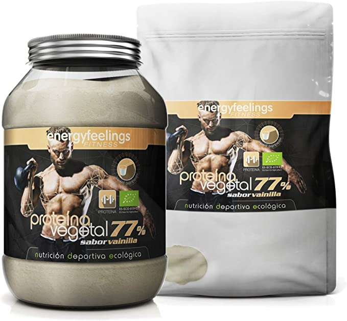 Energy Feelings Proteina Vegana 77% Premium sabor vainilla - 1 Kg | rica en BCAA | ingredientes de máxima calidad | 100% ecológica