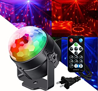 Disco Party Lights Sound Activated with Remote Control Dj Lighs,3W Disco Ball lights,Strobe Lamp 7 Modes Stage Par light for Home Parties Birthday DJ Bar Karaoke Xmas Wedding (1 set)