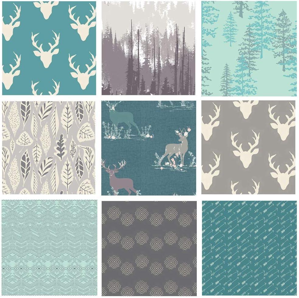 Teal and 新作アイテム毎日更新 Gray Woodland Deer おすすめ Bundle Fabrics Fabric Quilt Boys