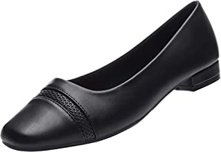 GUCHENG Flats Dress Shoes Womens Comfortable Low Heel Ballet Slip on Office Black Shoes