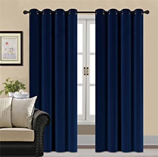 HCILY Blackout Velvet Curtains Navy 84 INCH Thermal Insulated for Bedroom 2 Panels (W104..