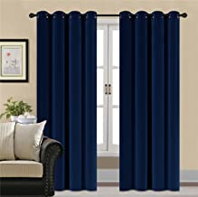 HCILY Blackout Velvet Curtains Navy 84 INCH Thermal Insulated for Bedroom 2 Panels (W104 x L84'', Blue)