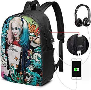 Ha-Rley Qui-Nn Backpack Heavy Comfortable Waterproof And Durable With Usb Charging Port And 17 Inch For Women Men Daypack