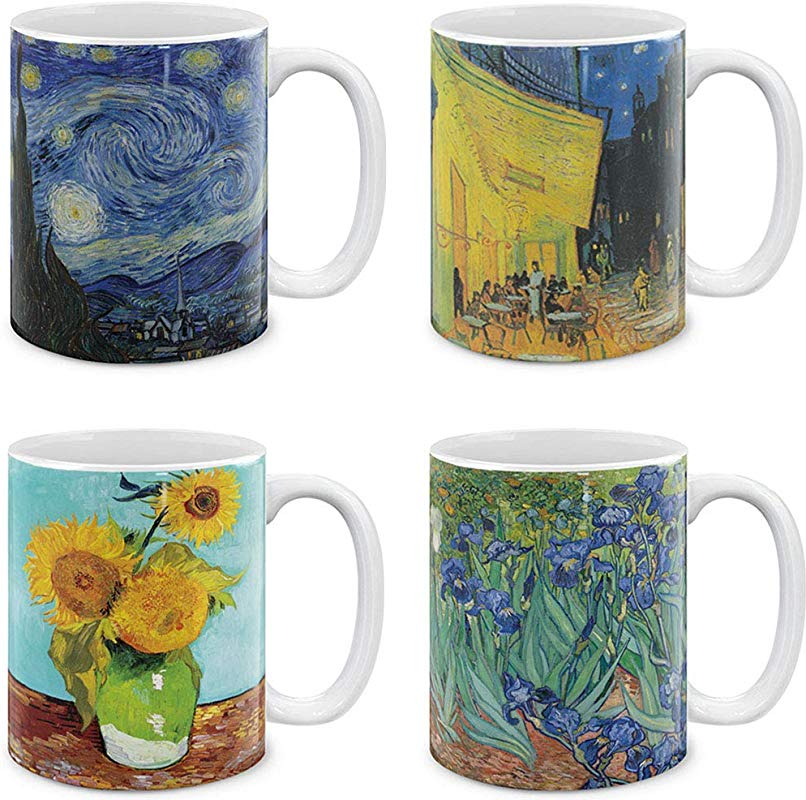 MUGBREW Coffee Mugs 4 Piece Set Vincent Van Gogh Paintings The Starry Night Sunflowers Irises Cafe Terrace At Night 11 Oz Gift Mugs