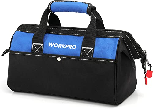 discount WORKPRO 13-inch Tool Bag, sale discount Wide Mouth Tool Tote Bag with Inside Pockets for Tool Storage online