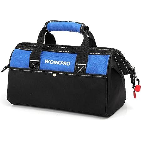 WORKPRO ツールバッグ 工具差し入れ 道具袋 工具バッグ 大口収納 600Dオックスフォード ワイドオープン 幅33cm