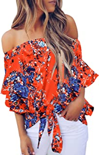Asvivid Womens Casual 3 4 Bell Sleeve Floral Chiffon...