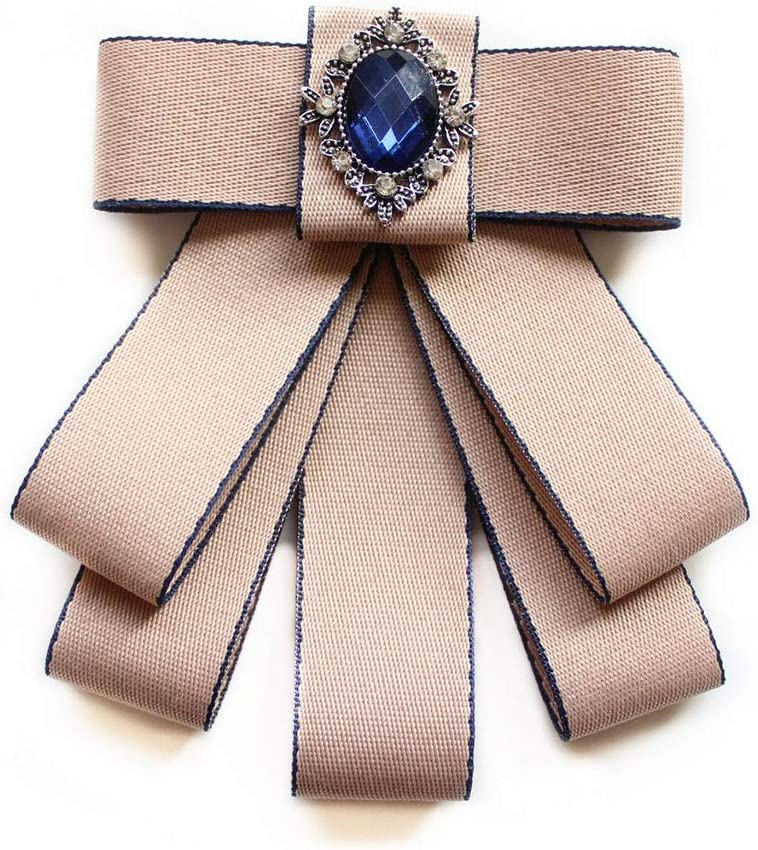 Fashion Ribbon Bow Tie Rhinestone Crystal Brooch Pin,Luxury Wedding Adjustable Bowties Formal Party Handmade Necktie