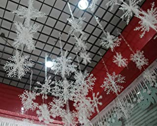 YYaaloa Wall Windows Decor Christmas 3D Plastic Snowflake Hanging Decorations Party Accessory (Pack of 1)