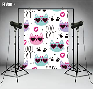 FiVan Cool Cat Cartoon Fotografie Hintergrund Fotohintergrund für Neugeborene Babyparty Geburtstag Bilder Party Banner Dessert Tischdekoration Photocall FT6555