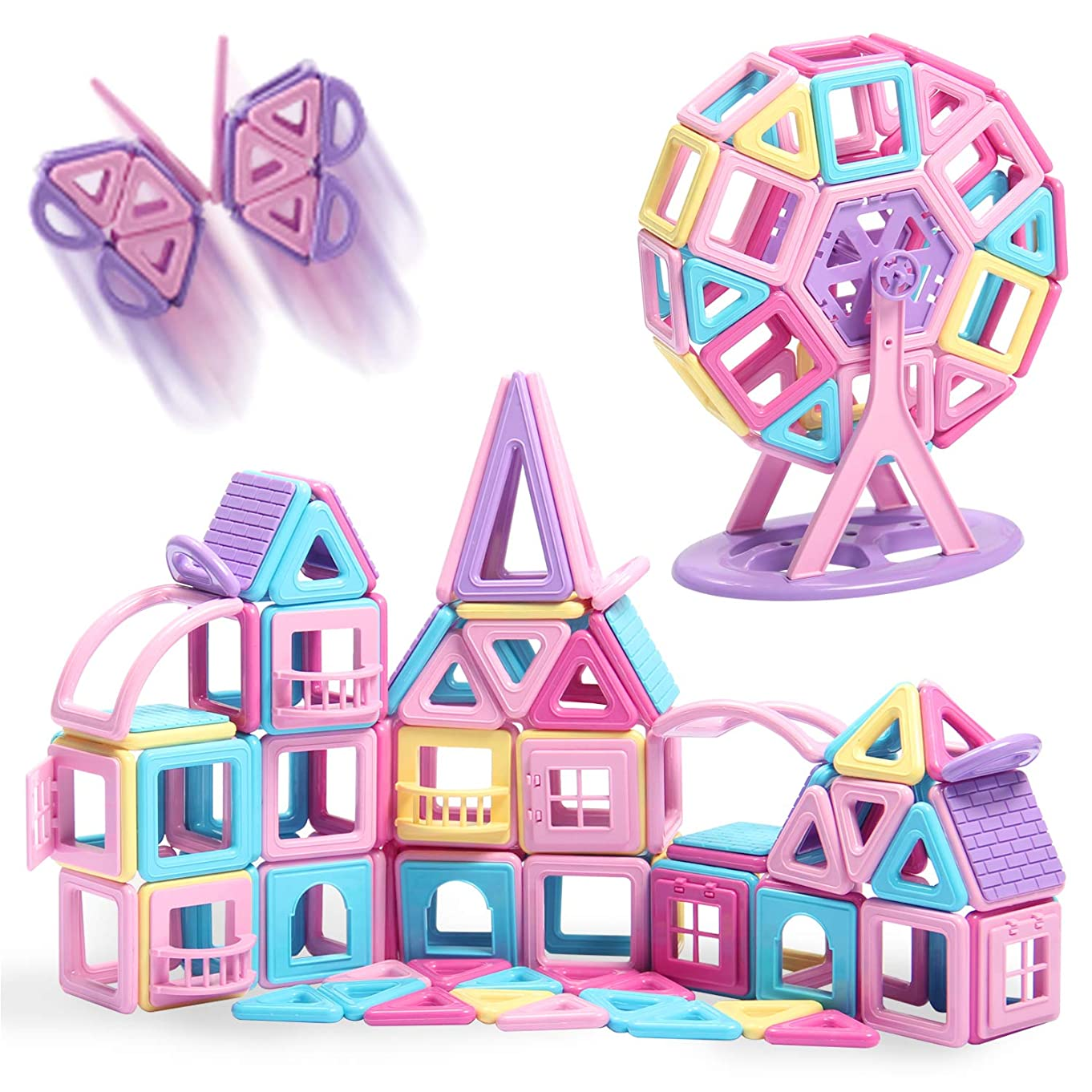HOMOFY 124PCS Castle Magnetic Blocks Toys for Kids -3D Macaron Colors Learning & Development Building Blocks Figure Kits Toys for 2 3 4 5 6 Years Old Girls Boys Toddlers