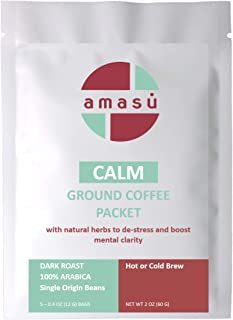 Sponsored Ad - Amasu Ground Nicaraguan Coffee with Natural Herbs Stress Relief Destress Steeped Packets (5 pack)