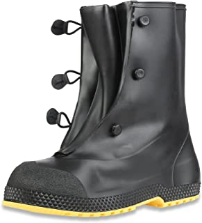"Servus SuperFit 12"" PVC Dual-Compound Men's Overboots, Black & Yellow (11001-Bagged)"