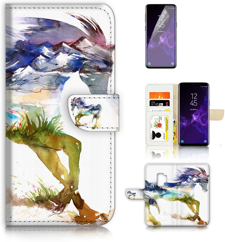 (for Samsung S9+ / Galaxy S9 Plus) Flip Wallet Case Cover & Screen Protector Bundle - A20275 Abstract Horse