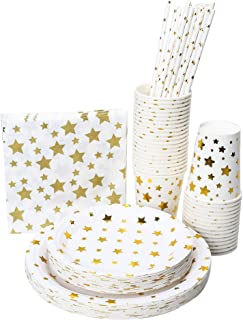 Full Fancy Disposable and Biodegradable Party Set,Paper Plates Two Sizes, Paper Cups, Paper Napkins and Paper Straws - White Color with Gold Stars [for Parties, Dinner or Decorations] - Wise Buy (12)