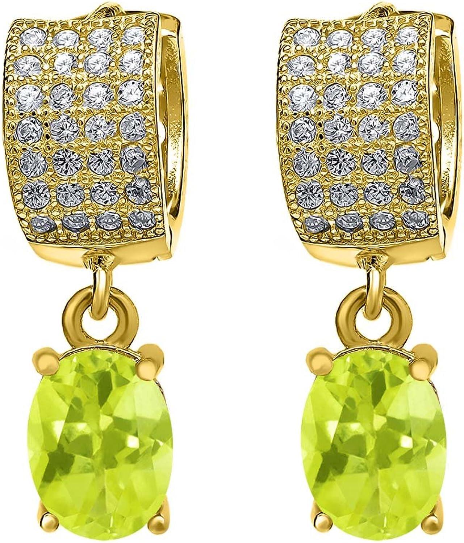3.37 Ct Yellow Lemon Quartz 18K Yellow gold Plated Silver Earrings