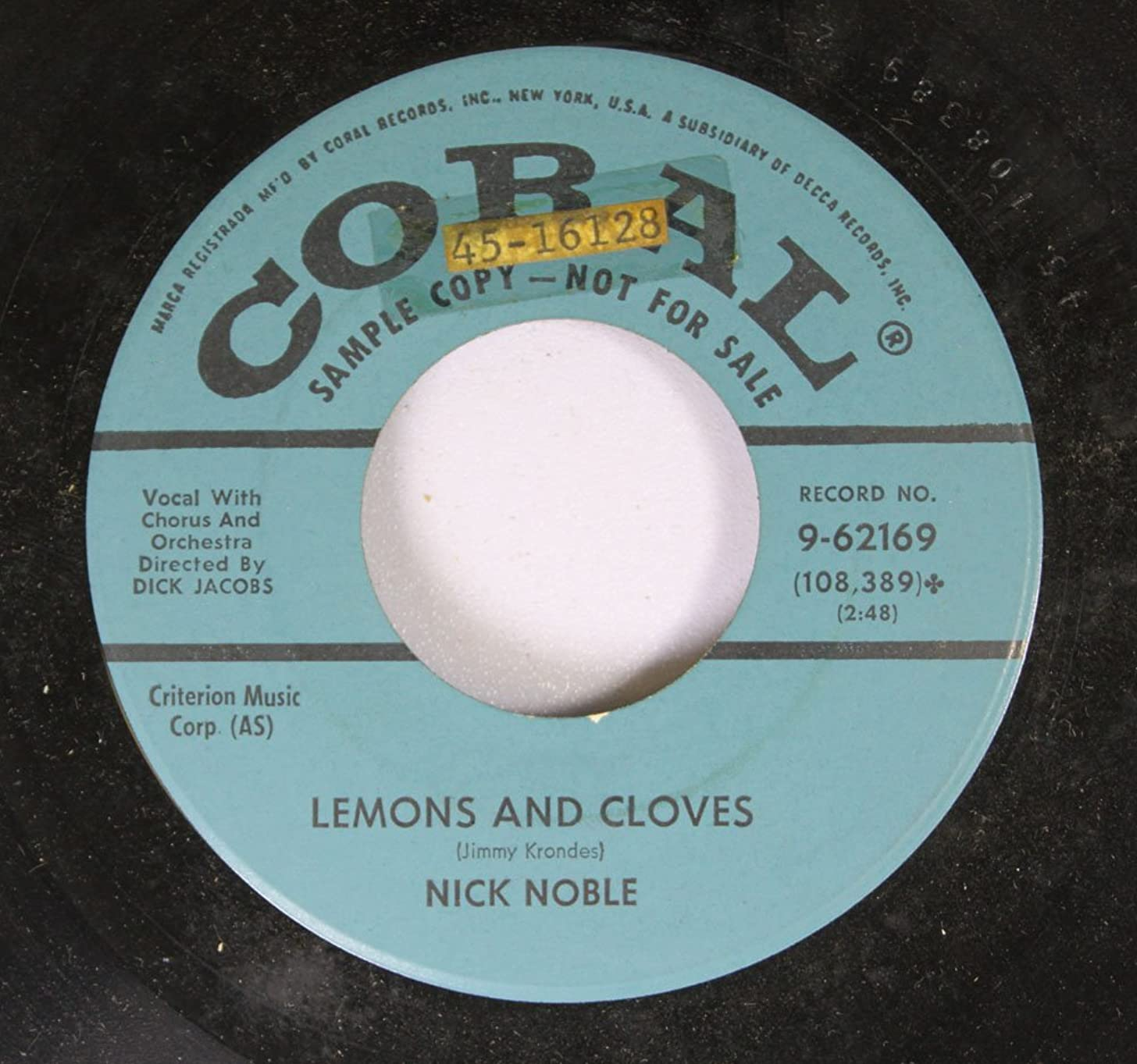 Nick Noble 45 RPM Lemons and Cloves / Voilino (Vee-O-Lee-No)