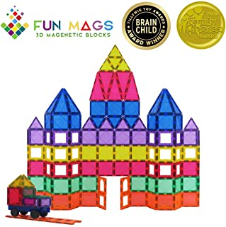 Fun Mags Magnetic Blocks 100-Piece Set 3D Magnetic Building Blocks, STEM Educational Magna Magnetic Tiles Magnet Toys for Kids, Toddlers (100)