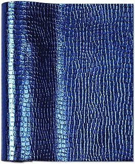 Meneng Glänzendes Metall-Kunstleder-Blatt, Perlen-PU-Kunstleder-Stoff, für Ohrringe, Haarschmuck, Schleifen, Schuhe, DIY Handwerk, handgefertigte Projekte, 22,9 x 130,9 cm, Marineblau
