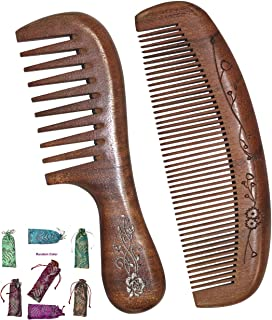 Natural Wooden Comb Handmade Red sandalwood Wide Tooth & Fine Tooth Hair Combs Set, Anti-Static Sandalwood Wooden Comb with 100% Real Wood Comb for Women Men by Haigemin(2 Pack)