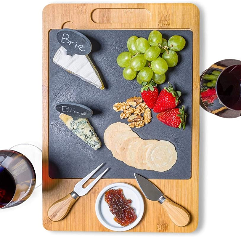 SPEShh Bamboo Slate Cheese Board Set With Cutlery And Drawer 12pcs Large Wooden Cheese Charcuterie Serving Platter Cutting Board With Ceramic Bowl Knife Marker And Chalk