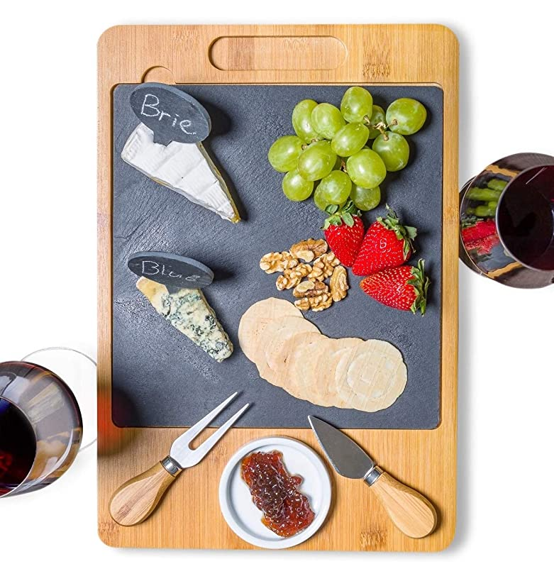 SPEShh Bamboo Slate Cheese Board Set with Cutlery and Drawer - 12 Piece Large Wooden Cheese Charcuterie Serving Platter, Cutting Board with Ceramic Bowl, Knife, Marker and Chalk