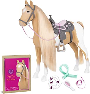 "Our Generation by Battat- Palomino Paint Horse- 20"" Hair Play Horse- Toys, Horse, Equestrian Accessories, & Pets for 18"" Dolls- for Age 3 Years & Up"