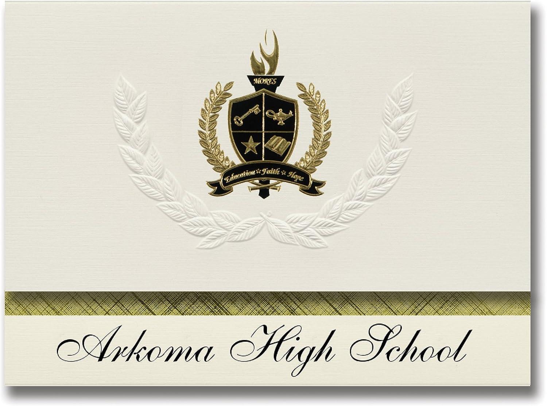 Signature Ankündigungen arkoma High School (arkoma, OK) Graduation Ankündigungen, Presidential Stil, Elite Paket 25 Stück mit Gold & Schwarz Metallic Folie Dichtung B078VFNSWM | Lebendige Form