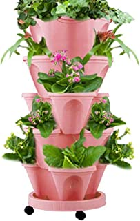 2Pcs Stackable Type Stereoscopic Flower Pot, Creative Plastic Vertical Stereoscopic Gardening Indoor Outdoor Plants Flower...