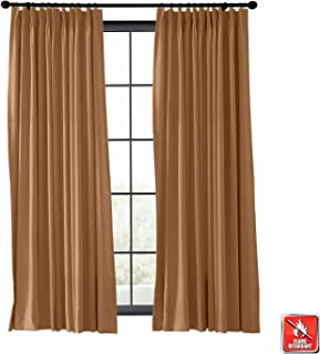 TWOPAGES Fireproof Flame Retardant Curtain for Living Room, Blackout Thermal Insulated Fire Resistant Kitchen Curtain (Brown, 1 Panel, 50 Inches Wide by 63 Inches Long)