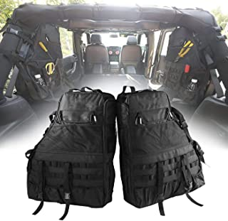 E-Cowlboy Roll Bar Storage Bag Cage for Jeep Wrangler JK TJ LJ & Unlimited 4 Door with Organizers & Multi-Pockets & Cargo Bag Saddlebag Tool Kits Drink Bottle Phone Tissue Gadget Holder(2 pc)