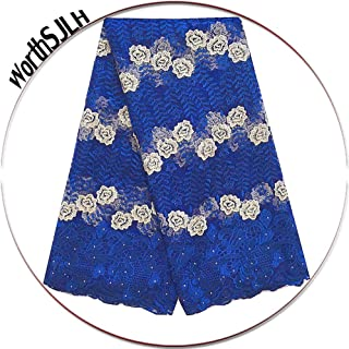 WorthSJLH African Lace Fabric 5 Yards 2019 Royal Blue French Tulle Lace Fabric Nigeria Lace with Beads Stones LF811 (Royal Blue)