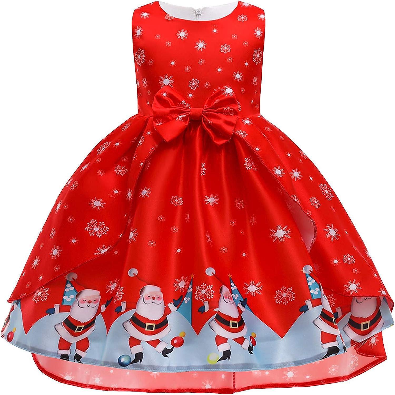 ZICUE Girls Sleeveless Bowknot Christmas Dresses Crew Neck High Low Princess Santa Claus Dress