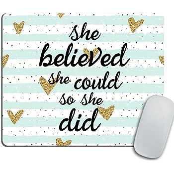 VIVIPOW Inspirational Quote Mouse Pad,She Believed She Could so She Did Inspirational Mouse Pad