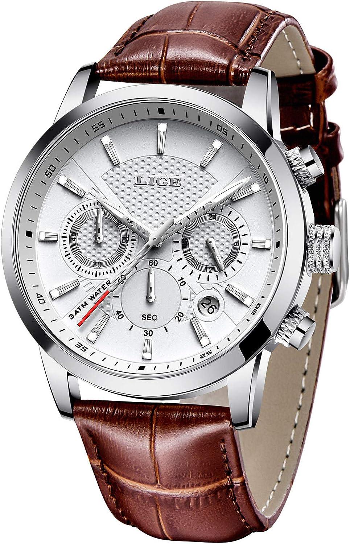 LIGE Reloj de pulsera analógico de cuarzo para hombre, resistente al agua, clásico, cronógrafo, pulsera de cuero