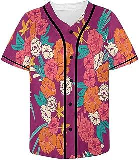 Men's Baseball Jersey Button Down T Shirts Plain Short Sleeve Gilded Jungle