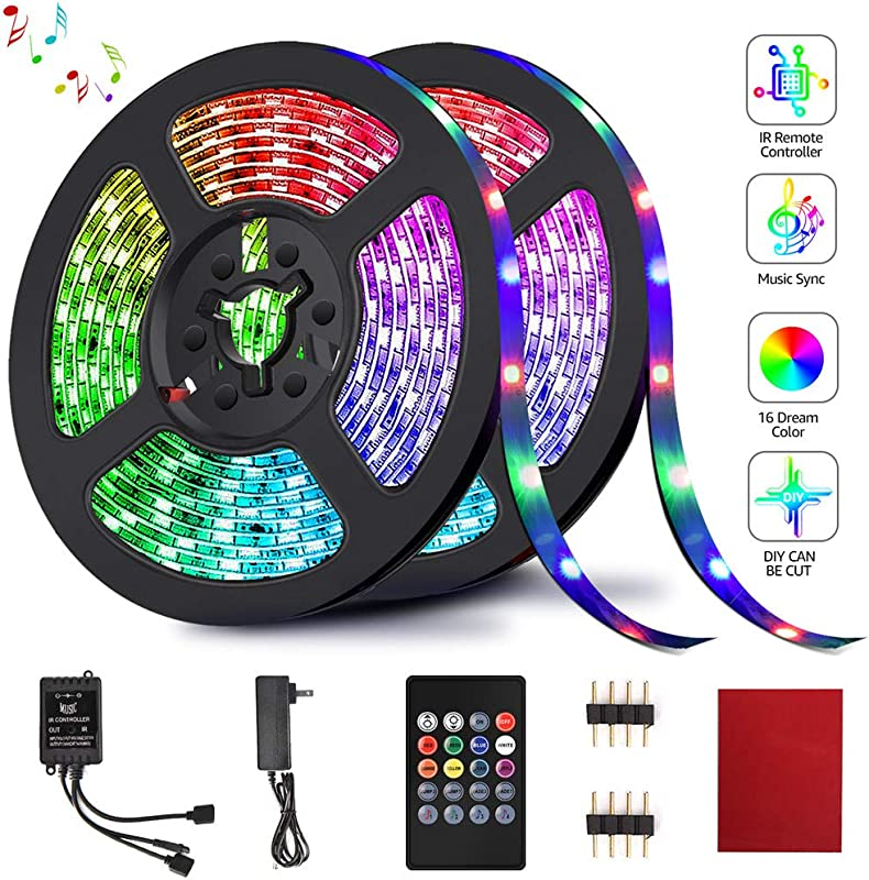 LED Strip Lights HeySuun RGB Light Strips 32 8FT 10M 20Key Music Sync Color Changing Rope Light 600 SMD 3528 LED IR Remote Controller Flexible Strip For Home Party Bedroom DIY Party Indoor Outdoor